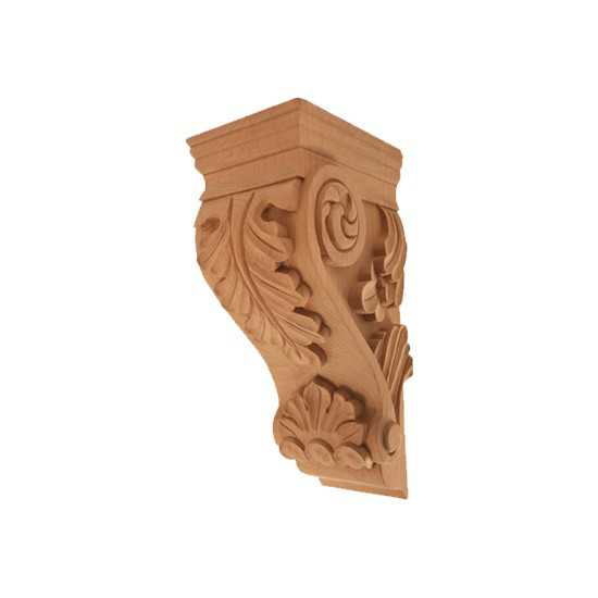 Small Acanthus Corbel Red Oak 4-5/8 x 5-1/4 x 10