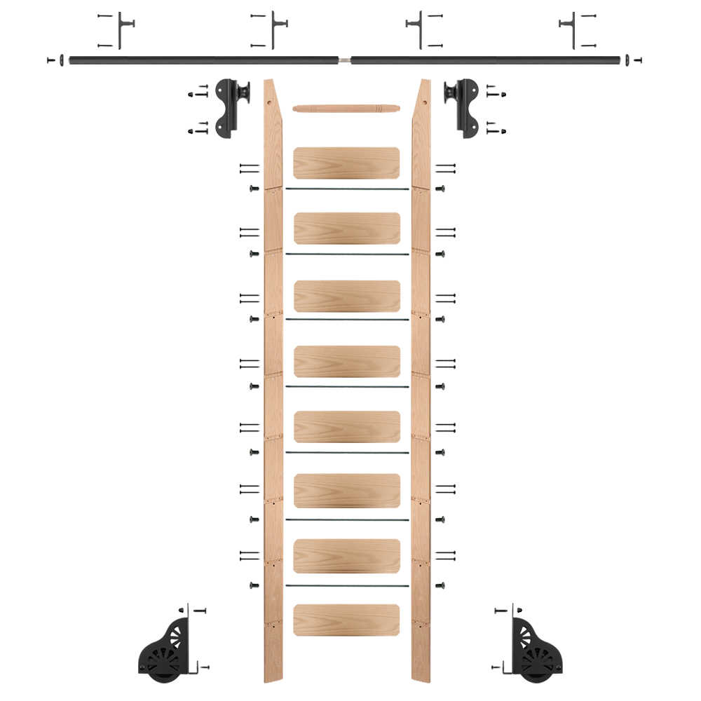 Rolling 9' red oak Ladder Kit, black, with 12' total railing