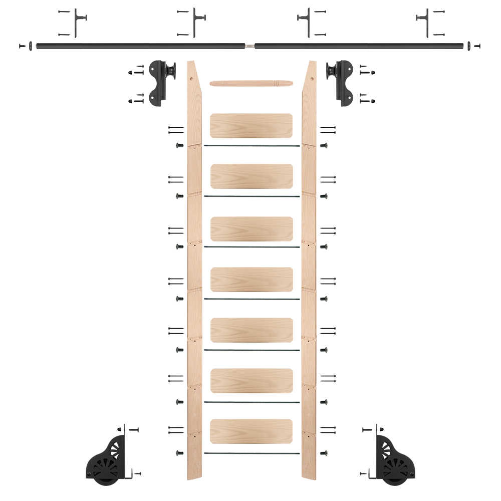 Rolling 8' maple Ladder Kit, Black with 8' of railing