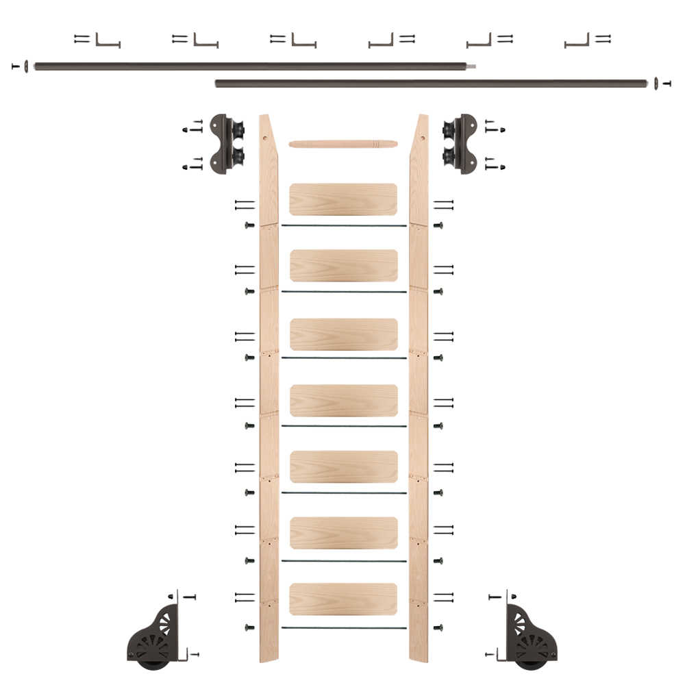 Rolling 8' maple Ladder Kit, Oil Rubbed Bronze with 12' of railing