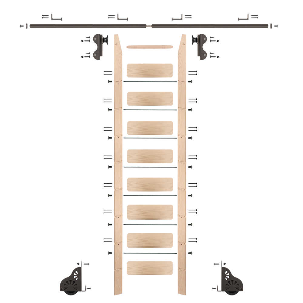 Rolling 9' Maple Ladder Kit, Oil Rubbed Bronze with 8' total railing