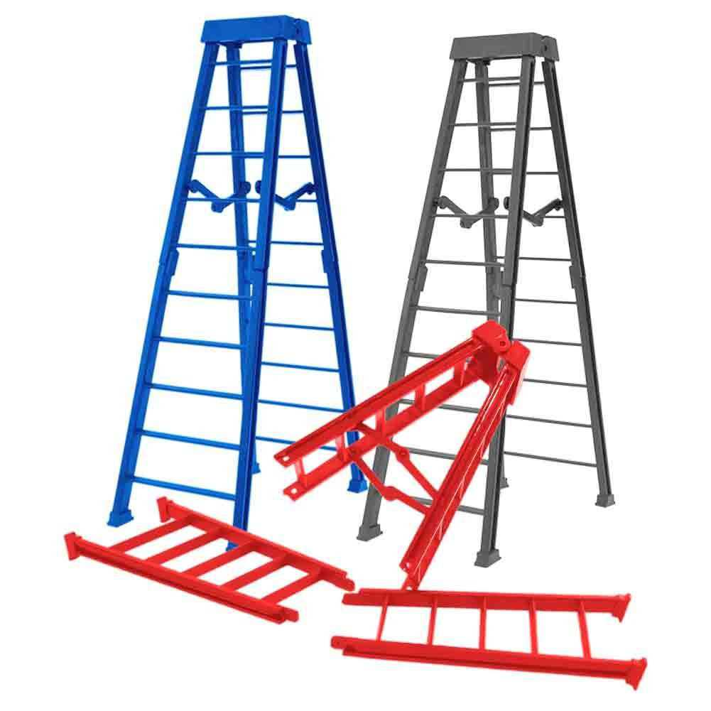 Special Deal: Set of 3 Large 10 Inch Breakaway Ladder for WWE Wrestling Action Figures: Red, Blue, Gray