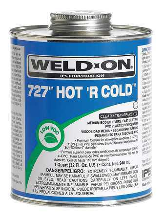 WELD-ON 13982 Pipe Cement,PVC,32 oz.