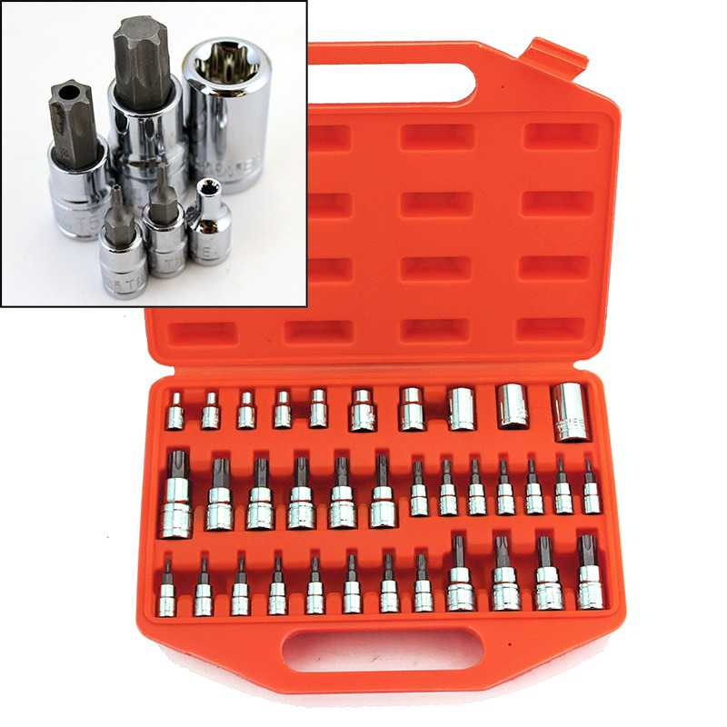 1/4'' 3/8' 1/2' Tamper Proof S2 Torx Star Bit External Sockets Tool Set with Case, 35PC
