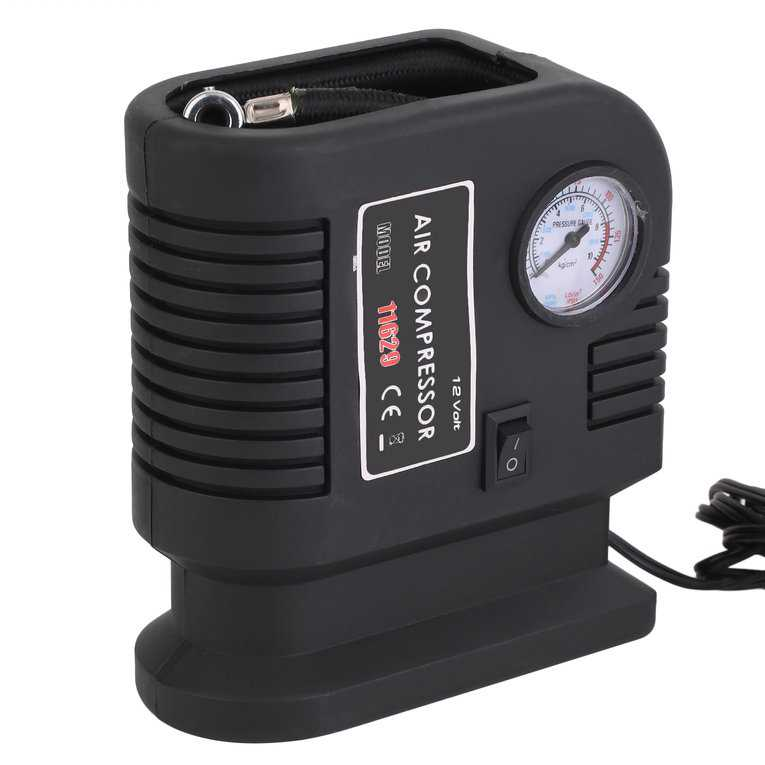 Portable Car Air Compressor Pump Tire 12V And 3 Adapter Electric Tyre Inflator black