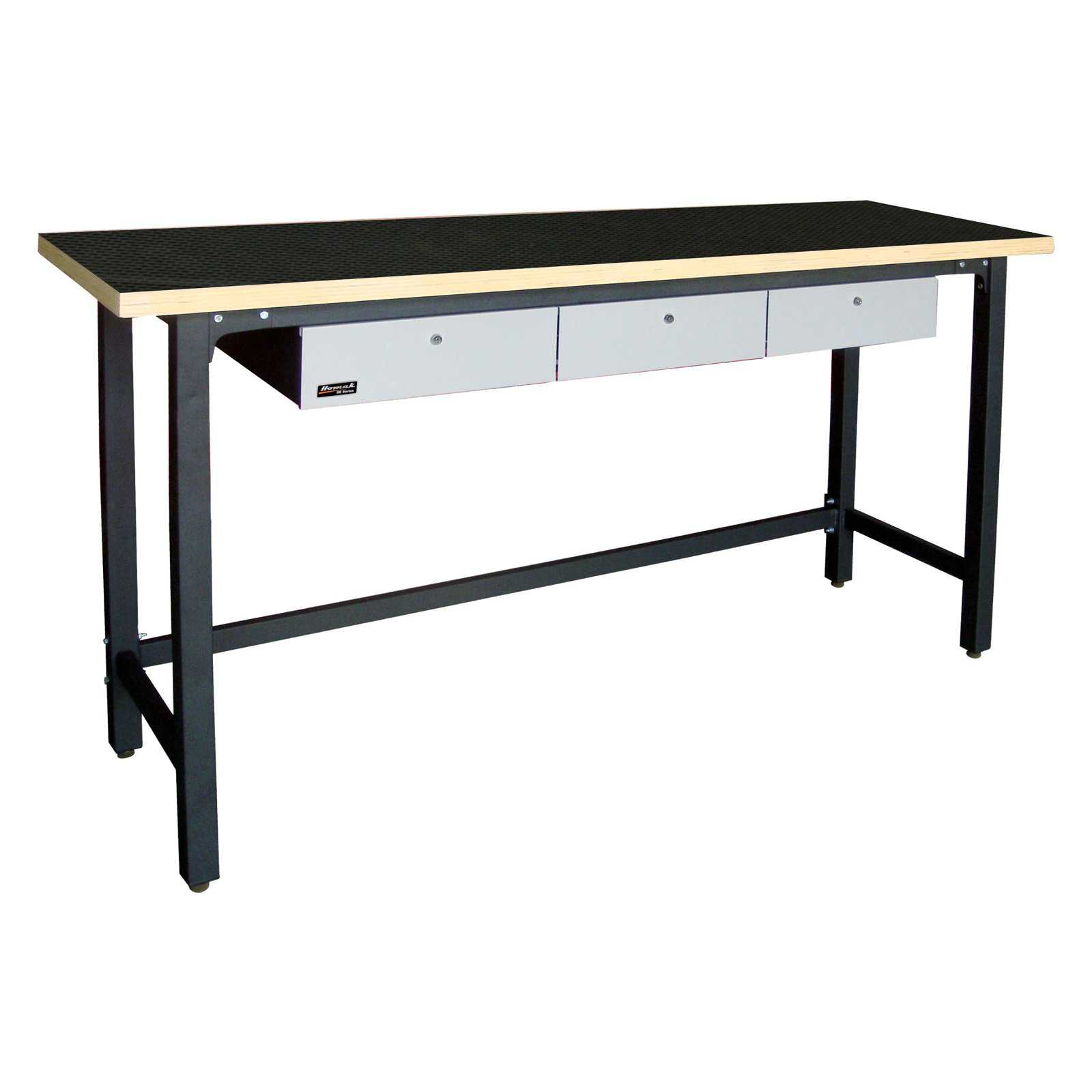 Homak 79 in. Steel Workbench with Wood Top