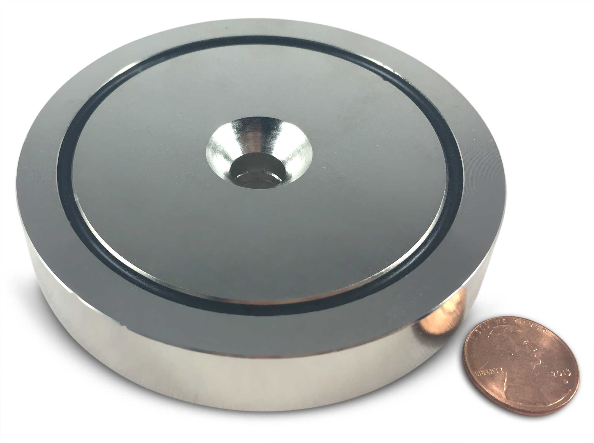 500 LBS Pulling Force, 3.54' Diameter - Round Neodymium Magnet with Countersunk Hole and Eyebolt