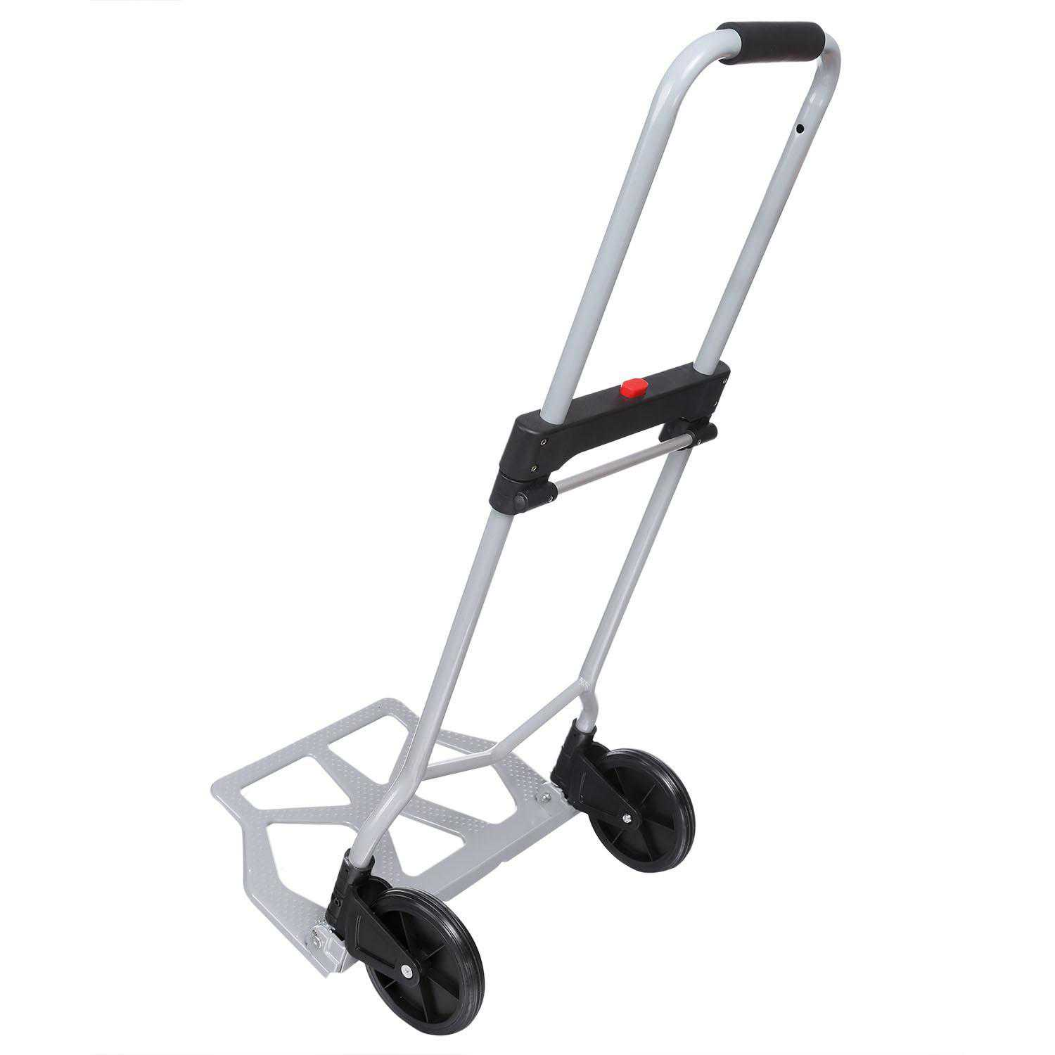 Portable Folding Hand Truck Dolly Luggage Carts, Silver, 220 lbs Capacity, Industrial/Travel/Shopping BEDTS