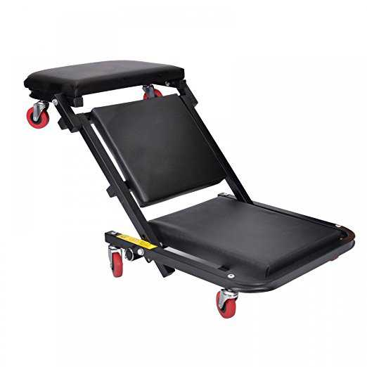 40'Foldable Z Creeper Seat Black Maintenance Shop Car Garage Padded Bed