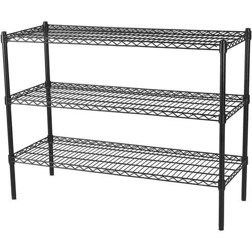 Muscle Rack 48'W x 18'D x 74'H Six-Level Mobile Wire Shelving, Black