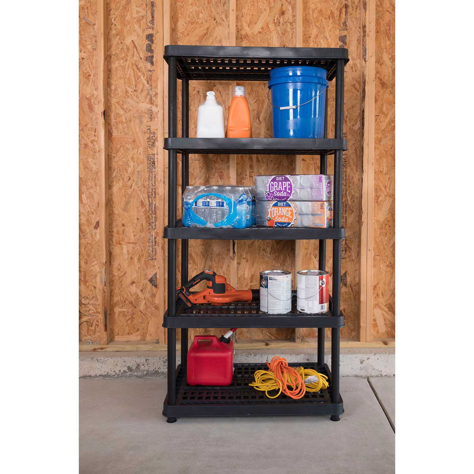 Keter 24-in. 5-Tier Black Ventilated Shelving Unit