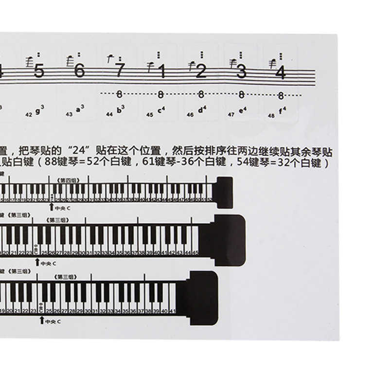 Sticker Stickers 88 Key Piano Numbered Musical Notation Transparent Piano Keyboard Sticker White And Black