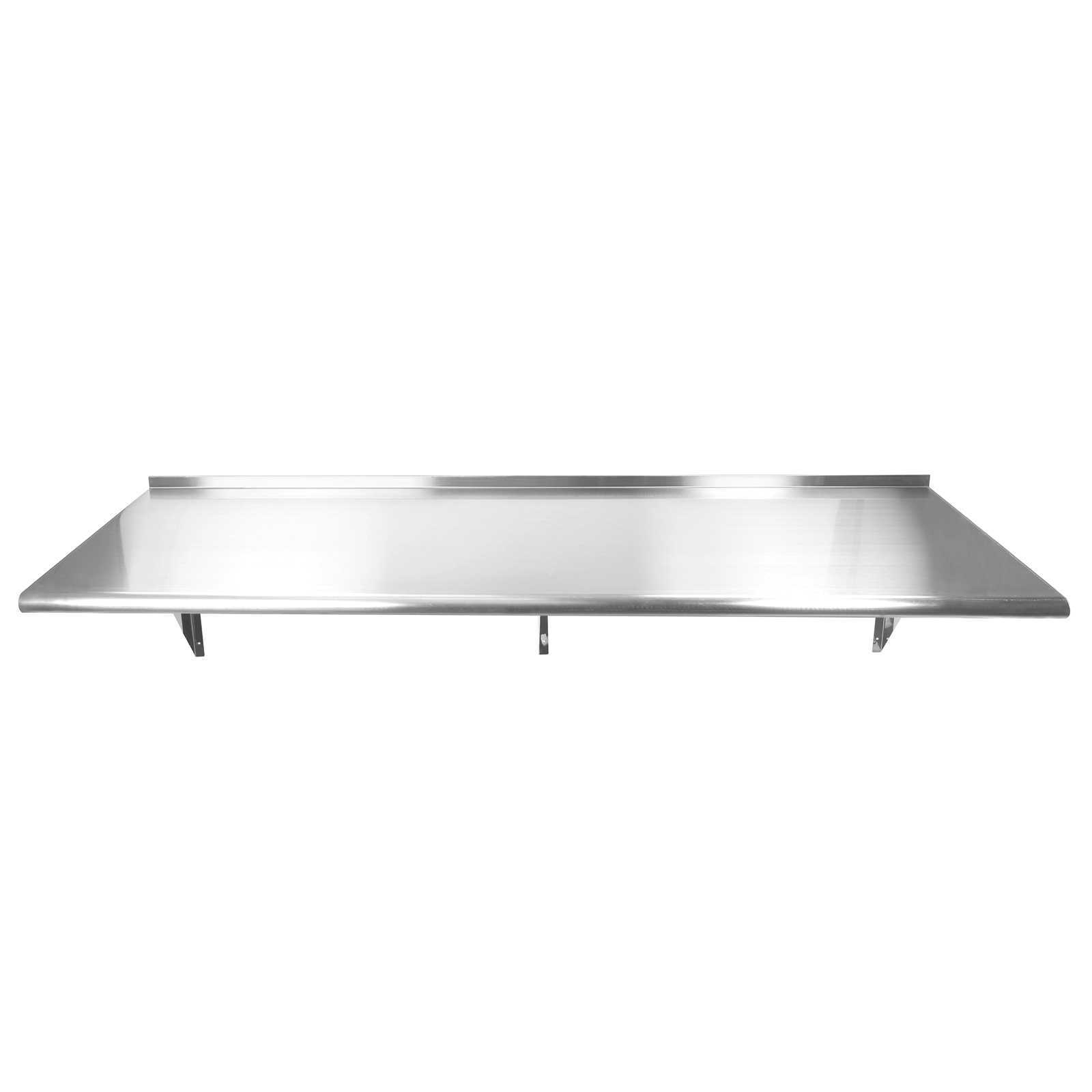 Gridmann NSF Stainless Steel Kitchen Wall Mount Shelf Commercial Restaurant Bar w/ Backsplash - 72 in. x 18 in.