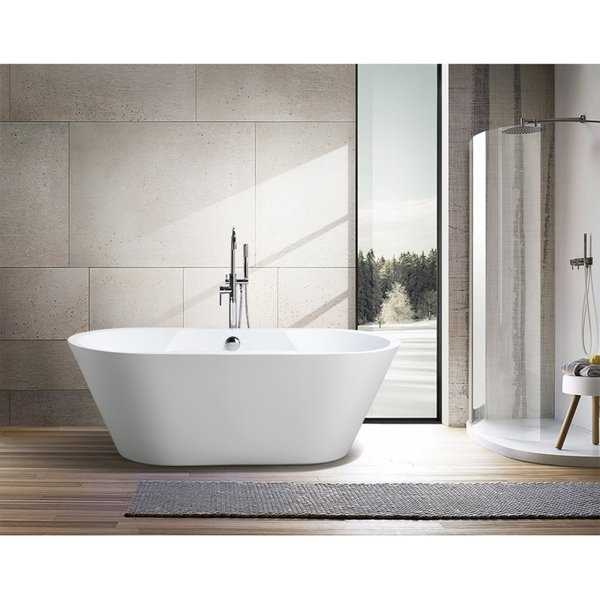 Vanity Art Freestanding Acrylic 67-inch Soaking Bathtub