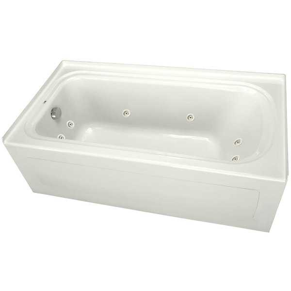 ProFlo PFW6042ALSK 60' x 42' Alcove 8 Jet Whirlpool Bath Tub with Skirt, Left Hand Drain and Right Hand Pump - White