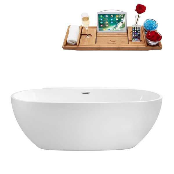 59' Streamline N-300-59FSWH-FM Soaking Freestanding Tub and Tray With Internal Drain