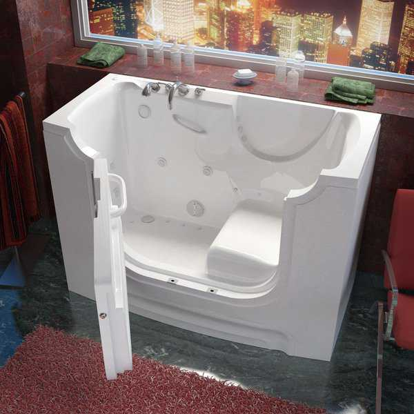 MediTub Wheelchair Accessible 30x60-inch Left Drain White Whirlpool & Air Jetted Walk-In Bathtub