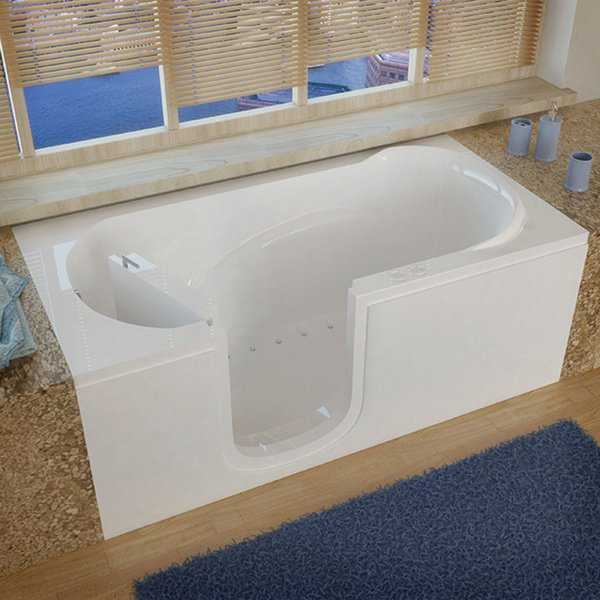 MediTub Step-In 30x60-inch Left Drain White Air Jetted Step-In Bathtub