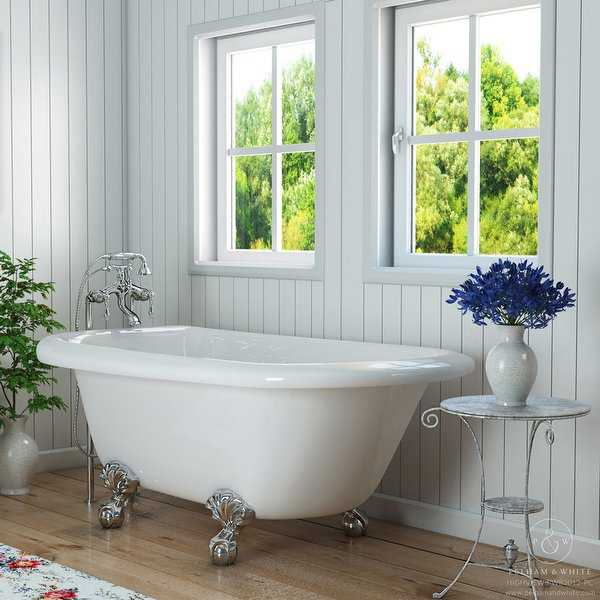 Pelham & White Luxury 54 Inch Clawfoot Tub with Chrome Ball and Claw Feet